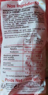 8 navettes beurre frais et crème fraîche - Voedingswaarden - fr