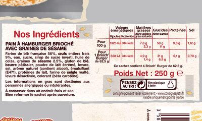 Brioch'burger Sésame - Ingrediënten - fr