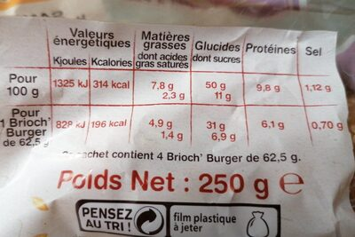 Brioch'burger sésame - Voedingswaarden - fr
