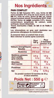 Le Pain Italien Complet - Voedingswaarden - fr