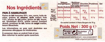 4 Pains Burgers Gourmet - Ingredients - fr