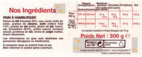 4 Pains Burgers Gourmet - Nutrition facts - fr