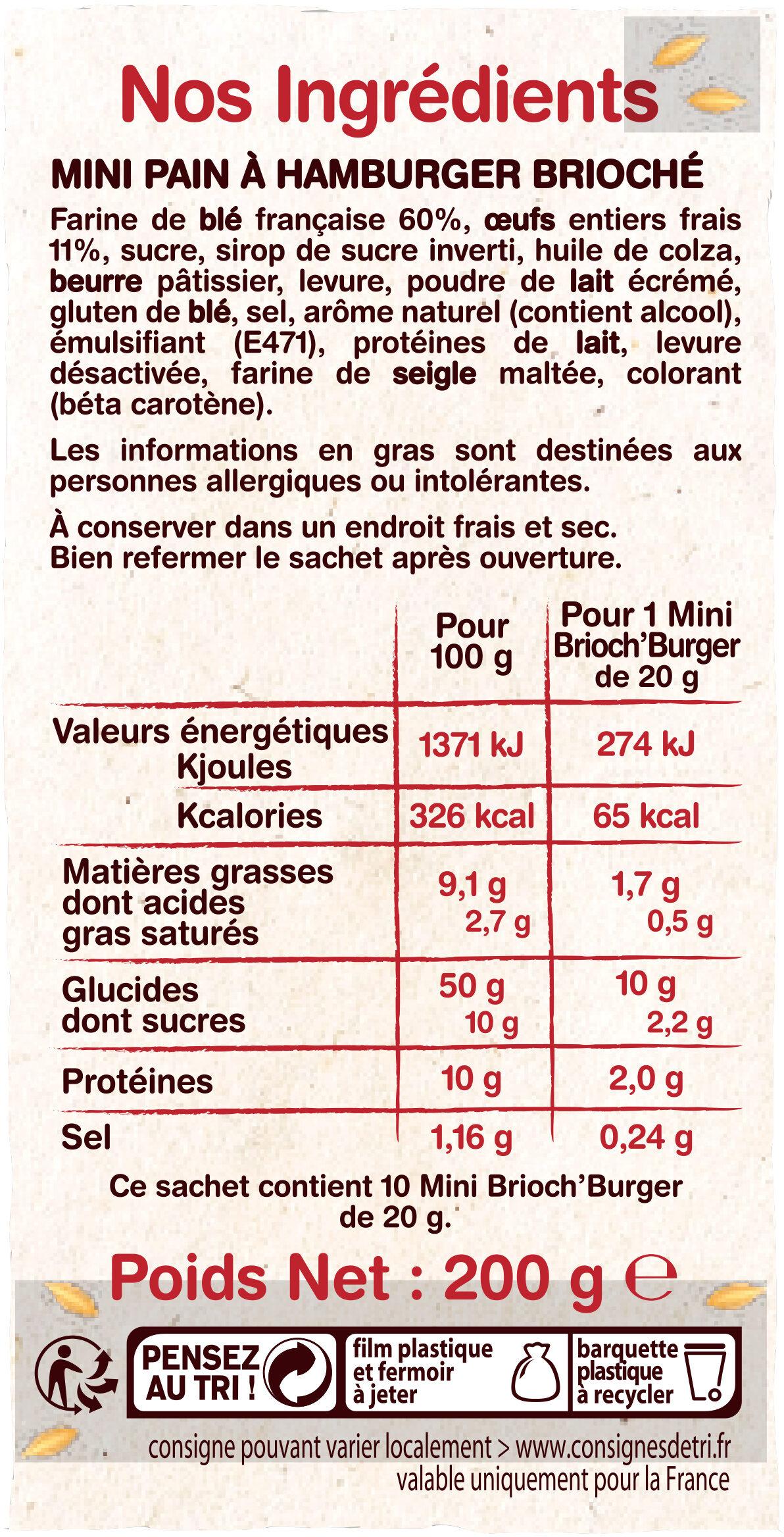 Mini brioche Burger - Ingrediënten - fr