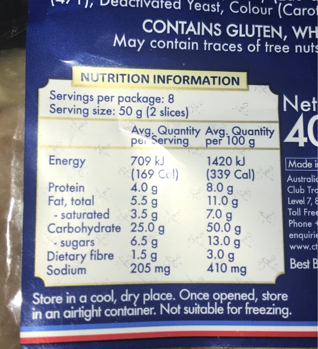 Butter brioche loaf - Nutrition facts