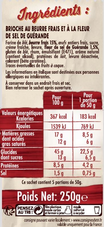 La brioche beurre frais - Ingrediënten - fr