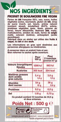 La brioche tranchée, recette 100% végétale - Voedingswaarden - fr