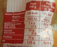 Petit pains vegan - Nutrition facts