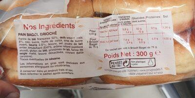 4 brioch'Bagel - Voedingswaarden - fr