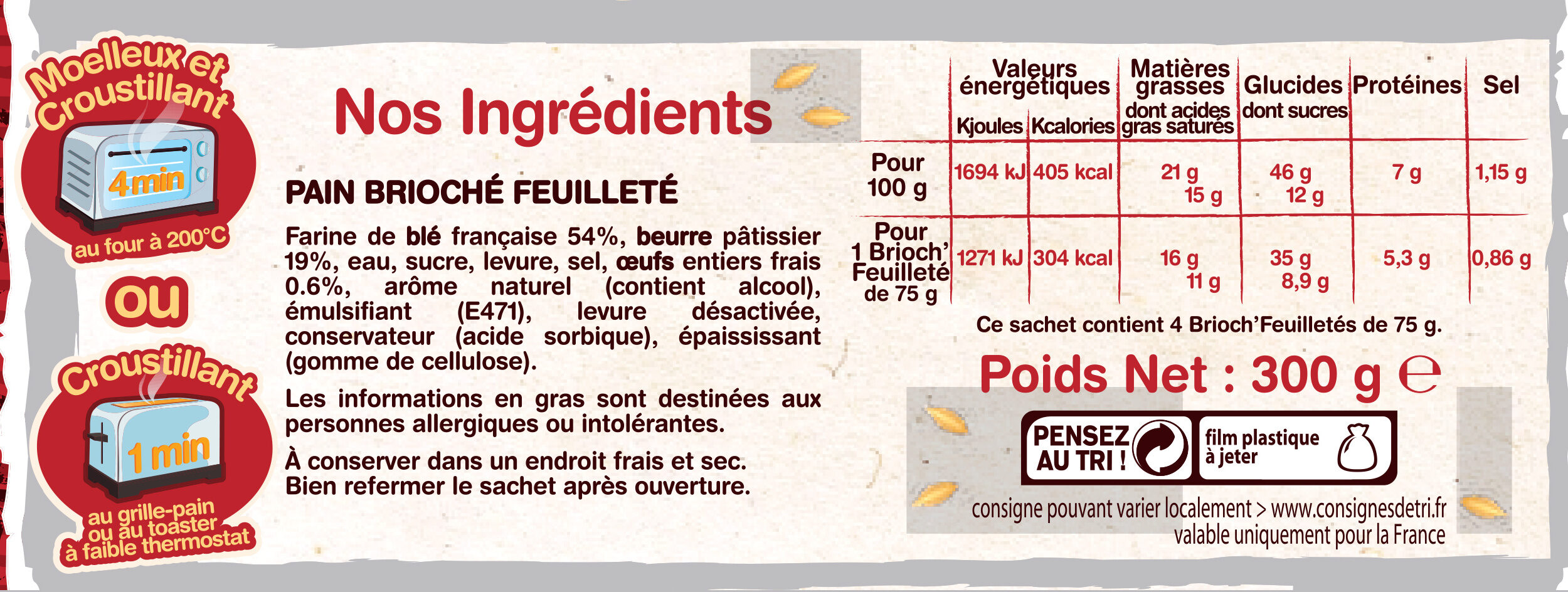 4 Brioch' Feuilletés - Voedingswaarden - fr
