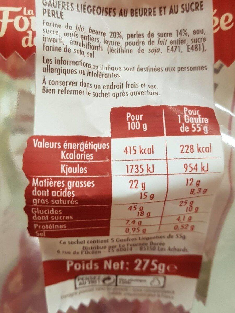 Les gaufres liegeoises - Voedingswaarden - fr
