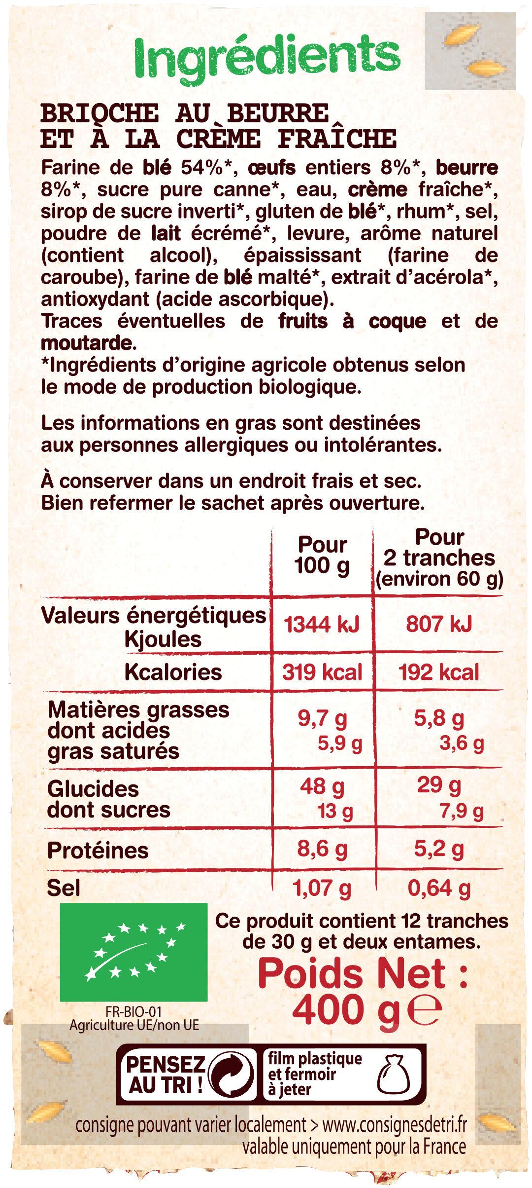 Gâche tranchrée bio - Ingrediënten - fr
