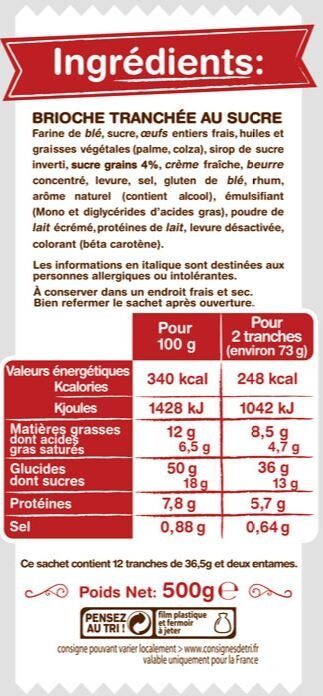 La Gâche Tranchée Sucre - Ingredients