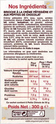 Petits Chinois (x 6) aux pépites de chocolat - 300 g - La Fournée Dorée - Ingrediënten - fr