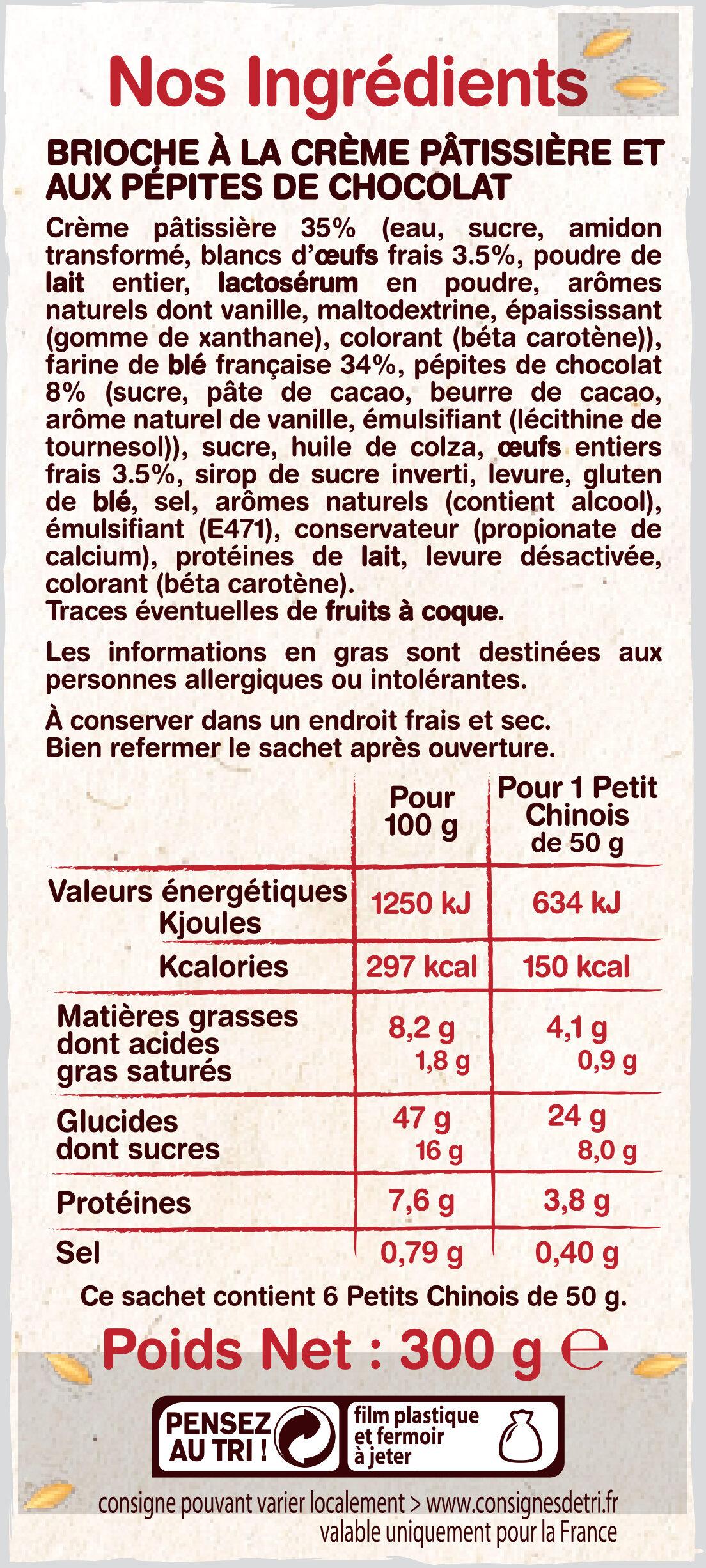 Petits Chinois (x 6) aux pépites de chocolat - 300 g - La Fournée Dorée - Voedingswaarden - fr