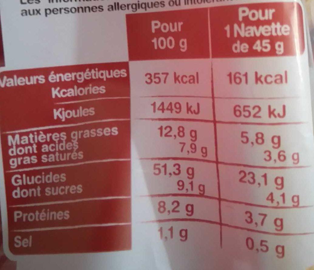 La Navette 8 briochettes au beurre frais - Nutrition facts
