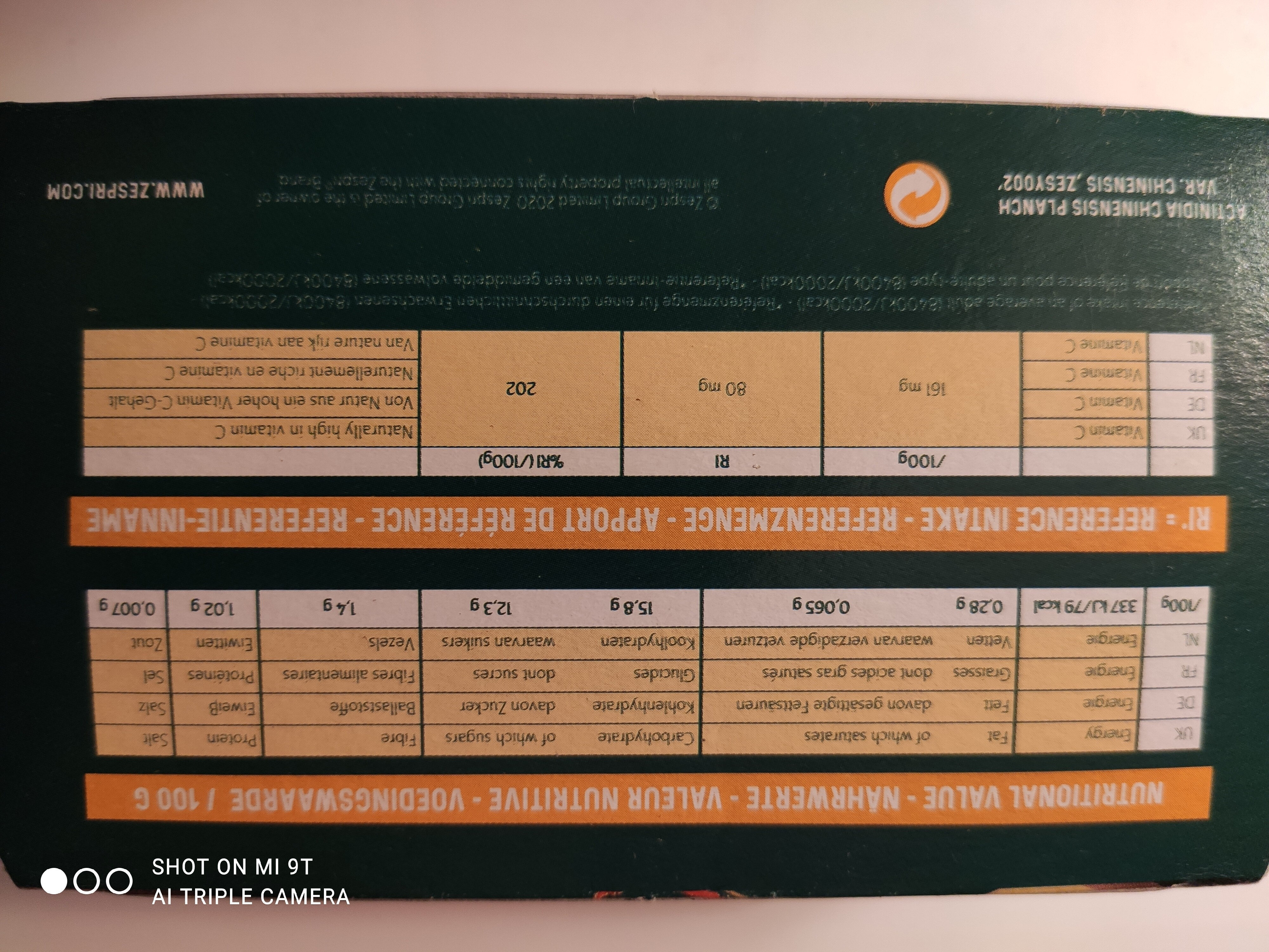 Zespri - Informations nutritionnelles - fr