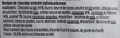 Rocher noisettes chocolat au lait - Ingredients - fr