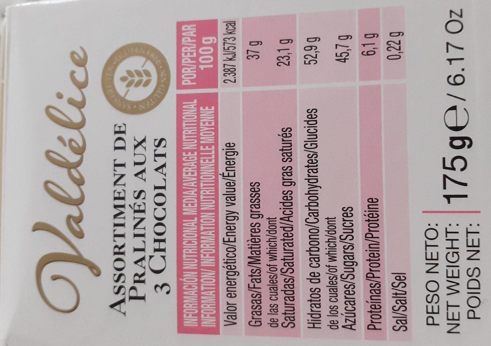 Assortiment Praliné aux 3 Chocolats - Informations nutritionnelles - fr