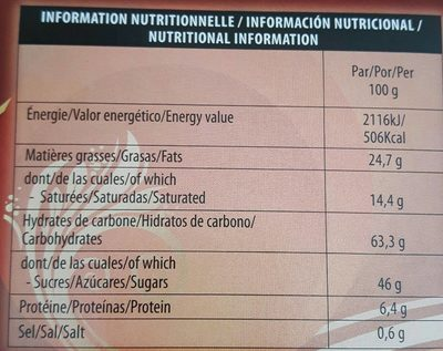 Roses des Sables - Informations nutritionnelles - fr