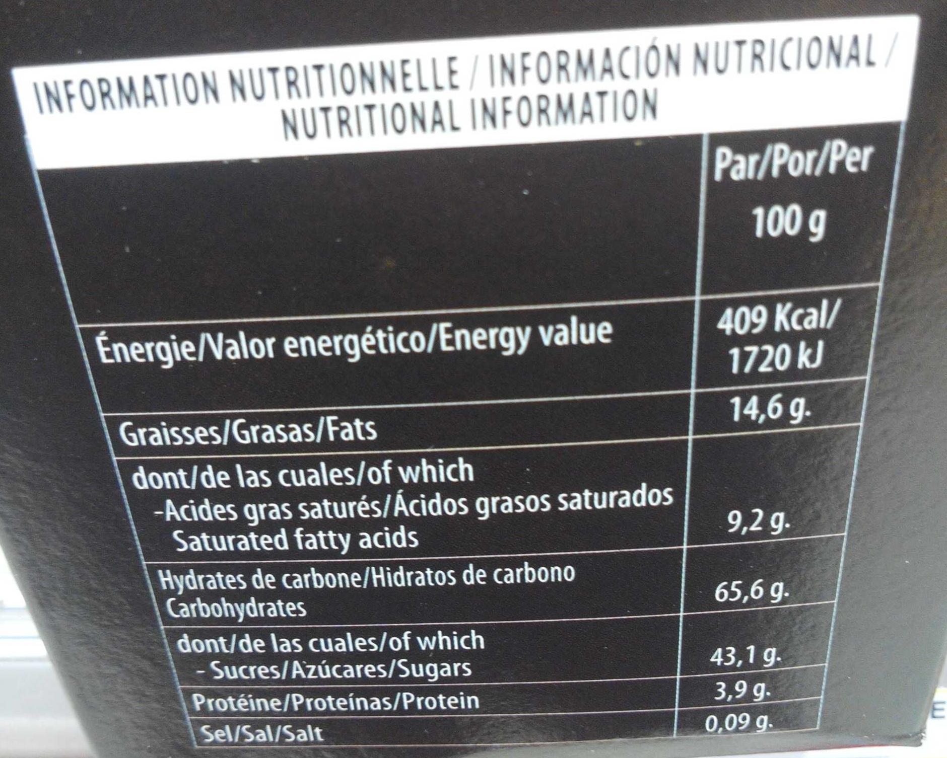 Orangettes - Informations nutritionnelles - fr