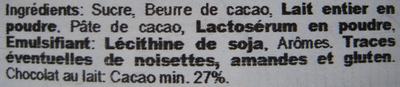Chocolat au lait pièces Euro Sorini - Ingrédients