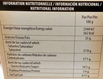 Bûchettes Biscuit Praliné - Informations nutritionnelles - fr