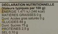 Bananes Chabada - Nutrition facts - fr