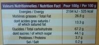 Biscuiterie Eugène Blond - La véritable gaufrette amusante parfum chocolat - Nutrition facts - fr