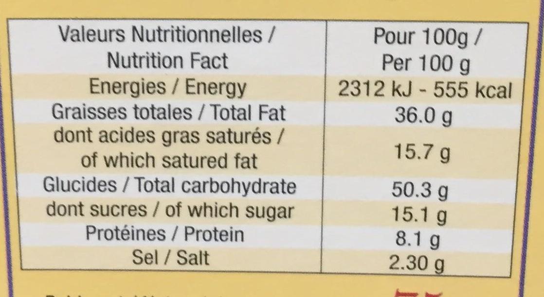 Les Apérigaufres fourrées saveur Bacon - Informations nutritionnelles