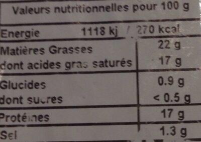 Sainte maure de touraine - Ingrédients - fr