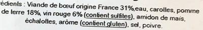 Bœuf Bourguignon, Pommes de Terre en Grenaille - Ingrediënten