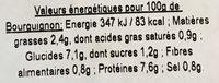 Bœuf Bourguignon, Pommes de Terre en Grenaille - Voedingswaarden - fr