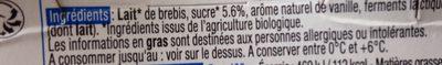 Yaourt de Brebis Vanille - Ingrediënten - fr