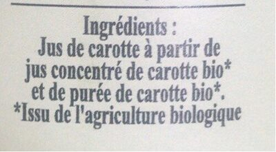 Jus de carottes Bio - Nutrition facts - fr