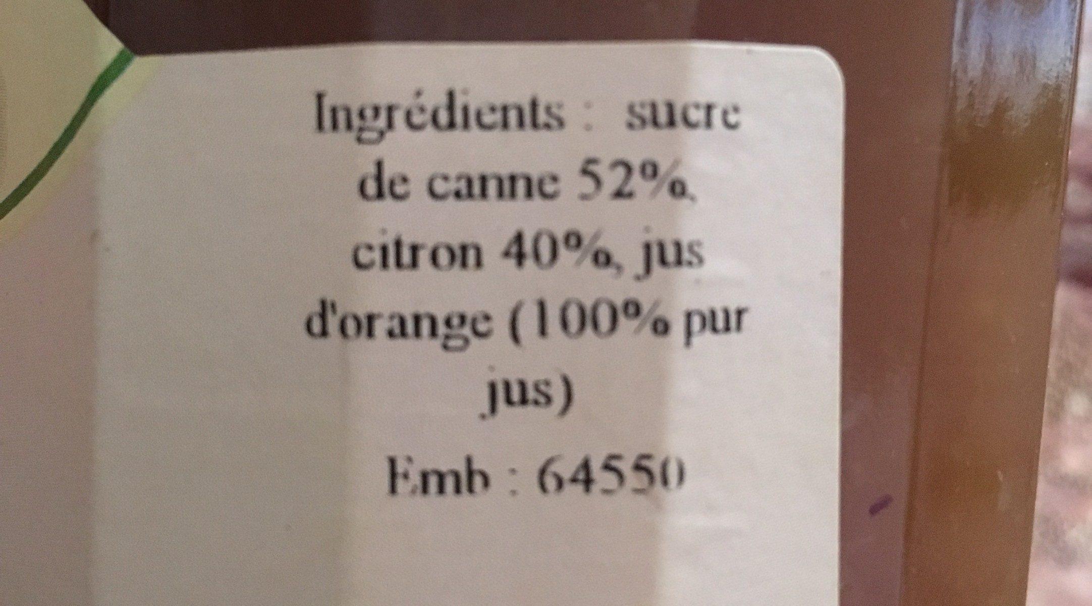 Confiture citron - Ingredients