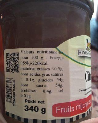 Confiture citron - Nutrition facts
