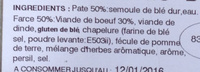 Cannellonis Boeuf - Ingrédients - fr