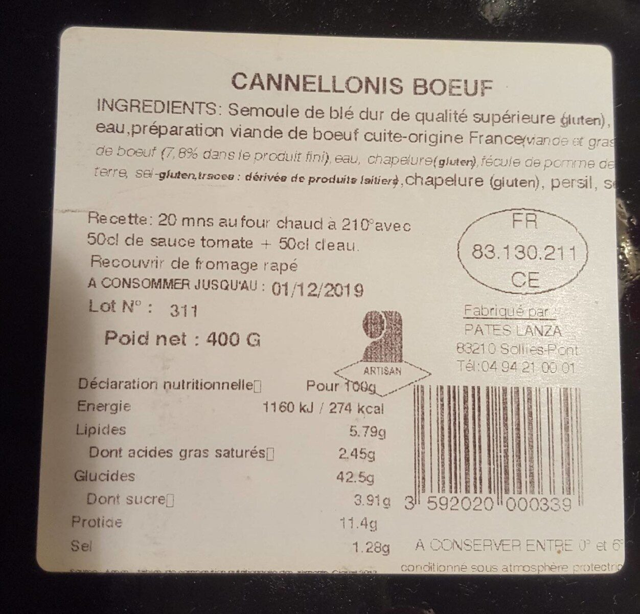 Cannellonis Boeuf - Informations nutritionnelles - fr