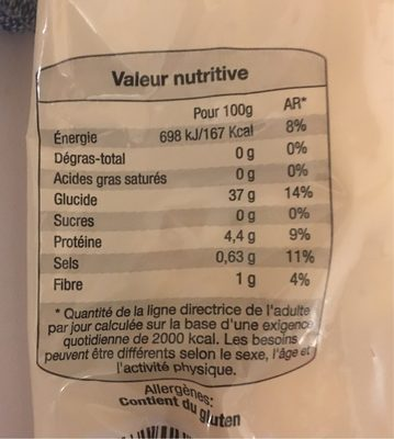 Gnocchis pomme de terre - Nutrition facts