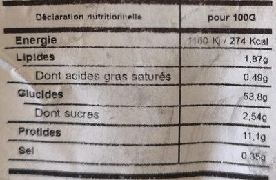 Pates fraiches - Valori nutrizionali - fr