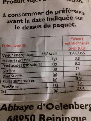 Farine De Blé 2,5 kg - Nutrition facts