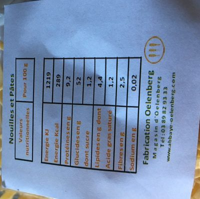 Pates moyennes aux oeufs - Ingredients - fr