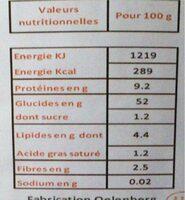 Pates moyennes aux oeufs - Nutrition facts - fr