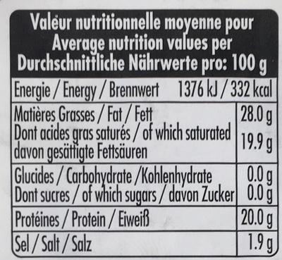 Fromage de brebis au lait pasteurisé (28% MG) - Nutrition facts