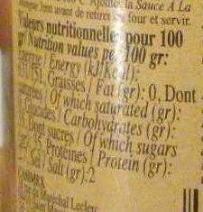 Sauce à la Mangue - Informations nutritionnelles - fr