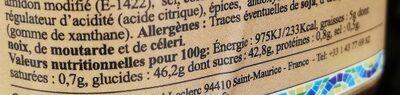 Marmelade d'Oignons - Informations nutritionnelles - fr