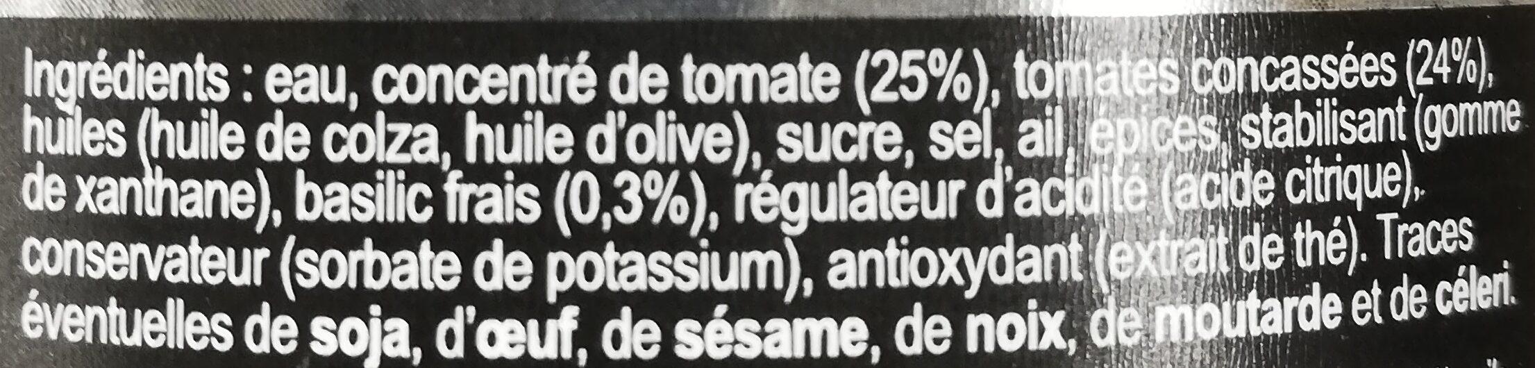 Sauce tomate au basilic - Ingrédients - fr