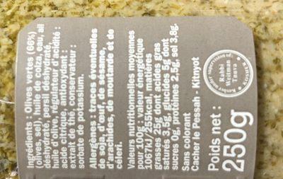 Tapenade olives vertes - Ingredients