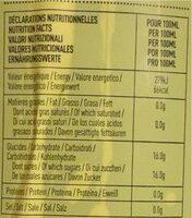 Pur jus de raisin blanc - Voedingswaarden - fr