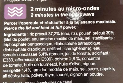 Poulet Basquaise & Riz - Ingrediënten - fr